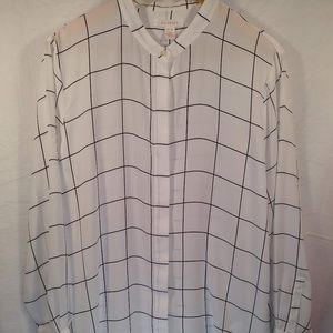 Joe Fresh B/W button down XL window pane blouse
